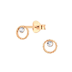 Wholesale Sterling Silver Circle Crystal Ear Studs - JD6173