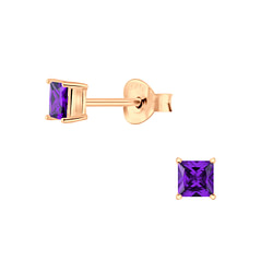 Wholesale 3mm Square Cubic Zirconia Sterling Silver Ear Studs - JD6366