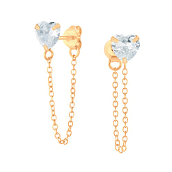 Wholesale 6mm Heart Cubic Zirconia Sliver Ear Studs with Chain - JD6212