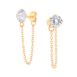 Wholesale 6mm Round Cubic Zirconia Sliver Ear Studs with Chain - JD6205