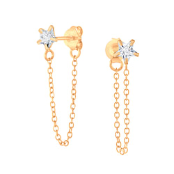 Wholesale 4mm Star Cubic Zirconia Sliver Ear Studs with Chain - JD6213