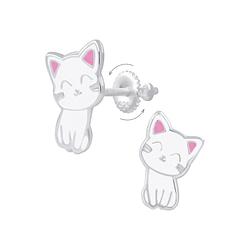 Wholesale Sterling Silver Cat Screw Back Ear Studs - JD6235