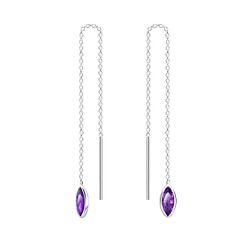Wholesale 3X6 Marquise Cubic Zirconia Sterling Silver Thread Through Earrings - JD6504