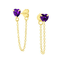 Wholesale 4mm Heart Cubic Zirconia Sliver Ear Studs with Chain - JD6658