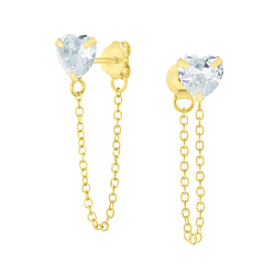Wholesale 6mm Heart Cubic Zirconia Sliver Ear Studs with Chain - JD6657