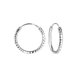 Wholesale 16mm Sterling Silver Diamond Cut Hoops - JD6532