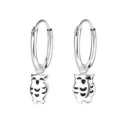 Wholesale Sterling Silver Owl Charm Ear Hoops - JD6524