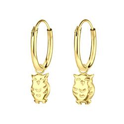 Wholesale Sterling Silver Owl Charm Ear Hoops - JD6525