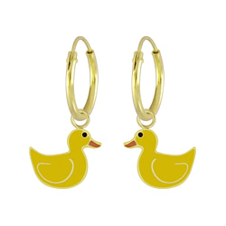 Wholesale Sterling Silver Duck Charm Ear Hoops - JD6528