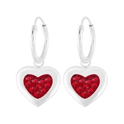 Wholesale Sterling Silver Heart Crystal Charm Ear Hoops - JD5702