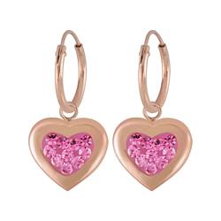 Wholesale Sterling Silver Heart Crystal Charm Ear Hoops - JD5538