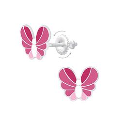 Wholesale Sterling Silver Butterfly Screw Back Ear Studs - JD6890