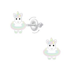 Wholesale Sterling Silver Hula Hooping Unicorn Screw Back Ear Studs - JD6869