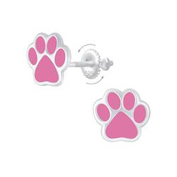 Wholesale Sterling Silver Paw Print Screw Back Ear Studs - JD6820