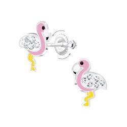 Wholesale Sterling Silver Flamingo Screw Back Ear Studs - JD6874