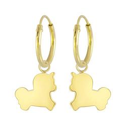 Wholesale Sterling Silver Unicorn Charm Ear Hoops - JD6807
