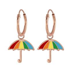 Wholesale Sterling Silver Umbrella Charm Ear Hoops - JD6842