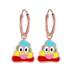 Wholesale Sterling Silver Smiling Poo Charm Ear Hoops - JD6835