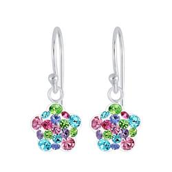 Wholesale Sterling Silver Flower Crystal Earrings - JD6927