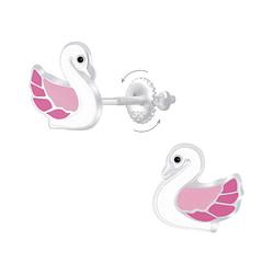 Wholesale Sterling Silver Swan Screw Back Ear Studs - JD6958