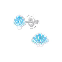 Wholesale Sterling Silver Shell Screw Back Ear Studs - JD6896