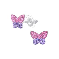 Wholesale Sterling Silver Butterfly Screw Back Ear Studs - JD6817