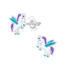 Wholesale Sterling Silver Winged Unicorn Screw Back Ear Studs - JD7011