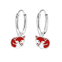 Wholesale Sterling Silver Fox Charm Ear Hoops - JD7307
