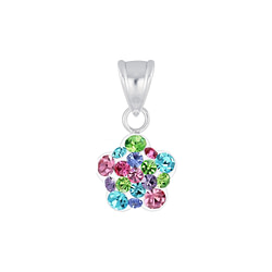 Wholesale Sterling Silver Flower Crystal Pendant - JD6928