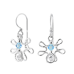 Wholesale Sterling Silver Flower Earrings with Crystals Bead - JD7115