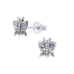 Wholesale Sterling Silver Butterfly Ear Studs - JD5359