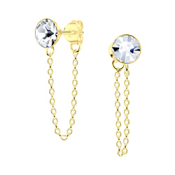 Wholesale 6mm Crystal Sterling Silver Ear Studs with Chain - JD6648