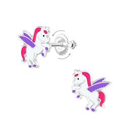 Wholesale Sterling Silver Winged Unicorn Screw Back Ear Studs - JD7005