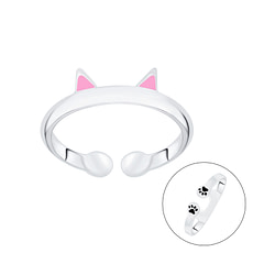 Wholesale Sterling Silver Cat Open Ring - JD7058