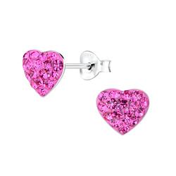 Wholesale Sterling Silver Heart Crystal Ear Studs - JD7305