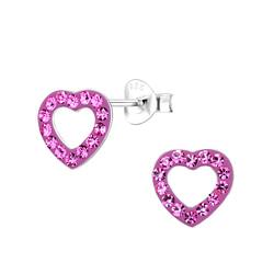 Wholesale Sterling Silver Heart Ear Studs - JD7327