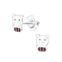 Wholesale Sterling Silver Cat Screw Back Ear Studs - JD6823