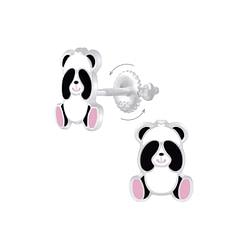 Wholesale Sterling Silver Panda Screw Back Ear Studs - JD7180