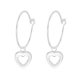 Wholesale Sterling Silver Heart Charm Ear Hoops - JD7342