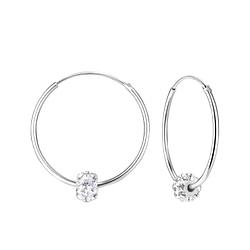 Wholesale Sterling Silver Crystal Ball 25mm Ear Hoops - JD7182