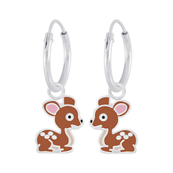 Wholesale Sterling Silver Deer Charm Ear Hoops - JD7314