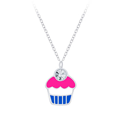 Wholesale Sterling Silver Cupcake Necklace - JD7400