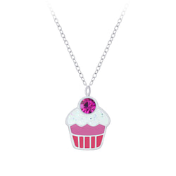 Wholesale Sterling Silver Cupcake Necklace - JD7392