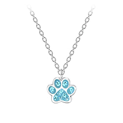 Wholesale Sterling Silver Paw Print Necklace - JD7196