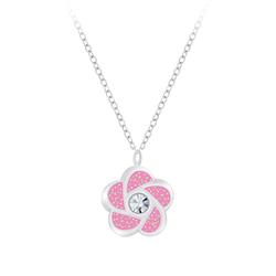 Wholesale Sterling Silver Flower Necklace - JD7376