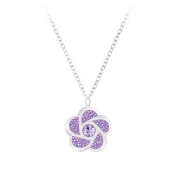 Wholesale Sterling Silver Flower Necklace - JD7389