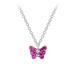 Wholesale Sterling Silver Butterfly Necklace - JD7395