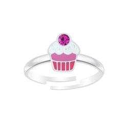 Wholesale Sterling Silver Cupcake Adjustable Ring - JD7345