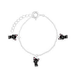 Wholesale Sterling Silver Cat Bracelet - JD7549
