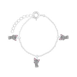 Wholesale Sterling Silver Cat Bracelet - JD7550